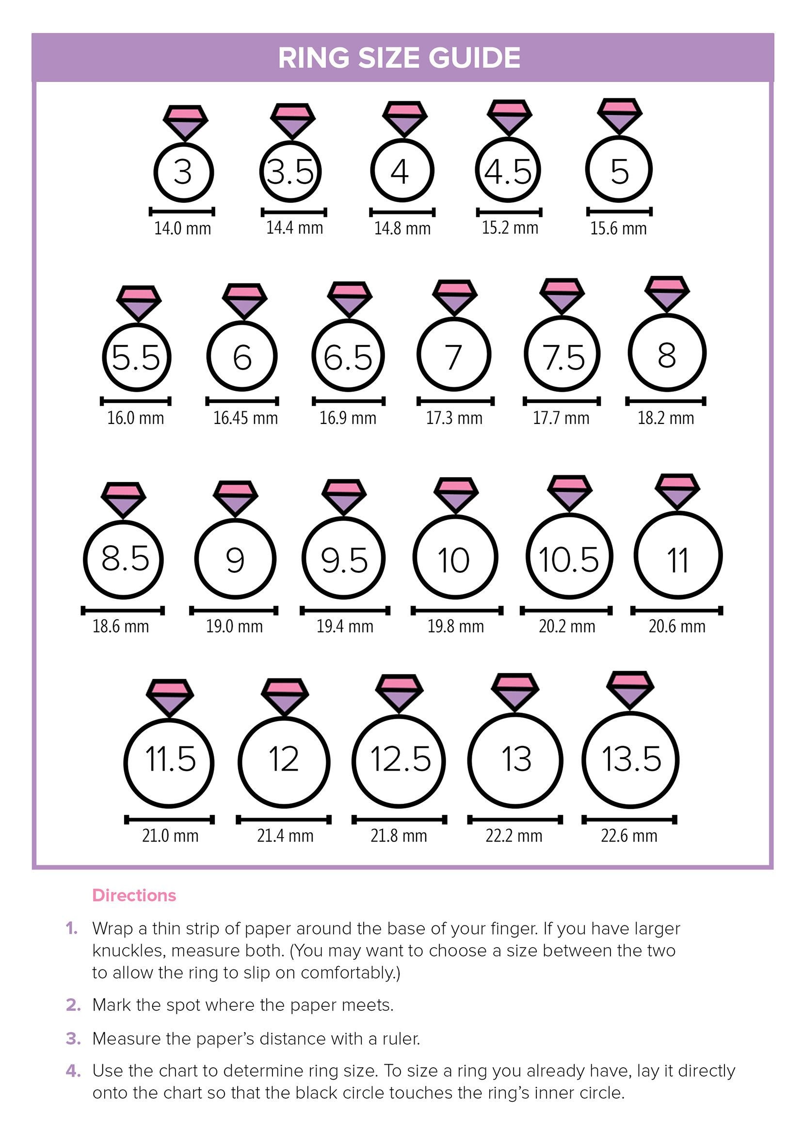 This printable ring size guide will help you find the right size for your  fingers. 45eb3885d