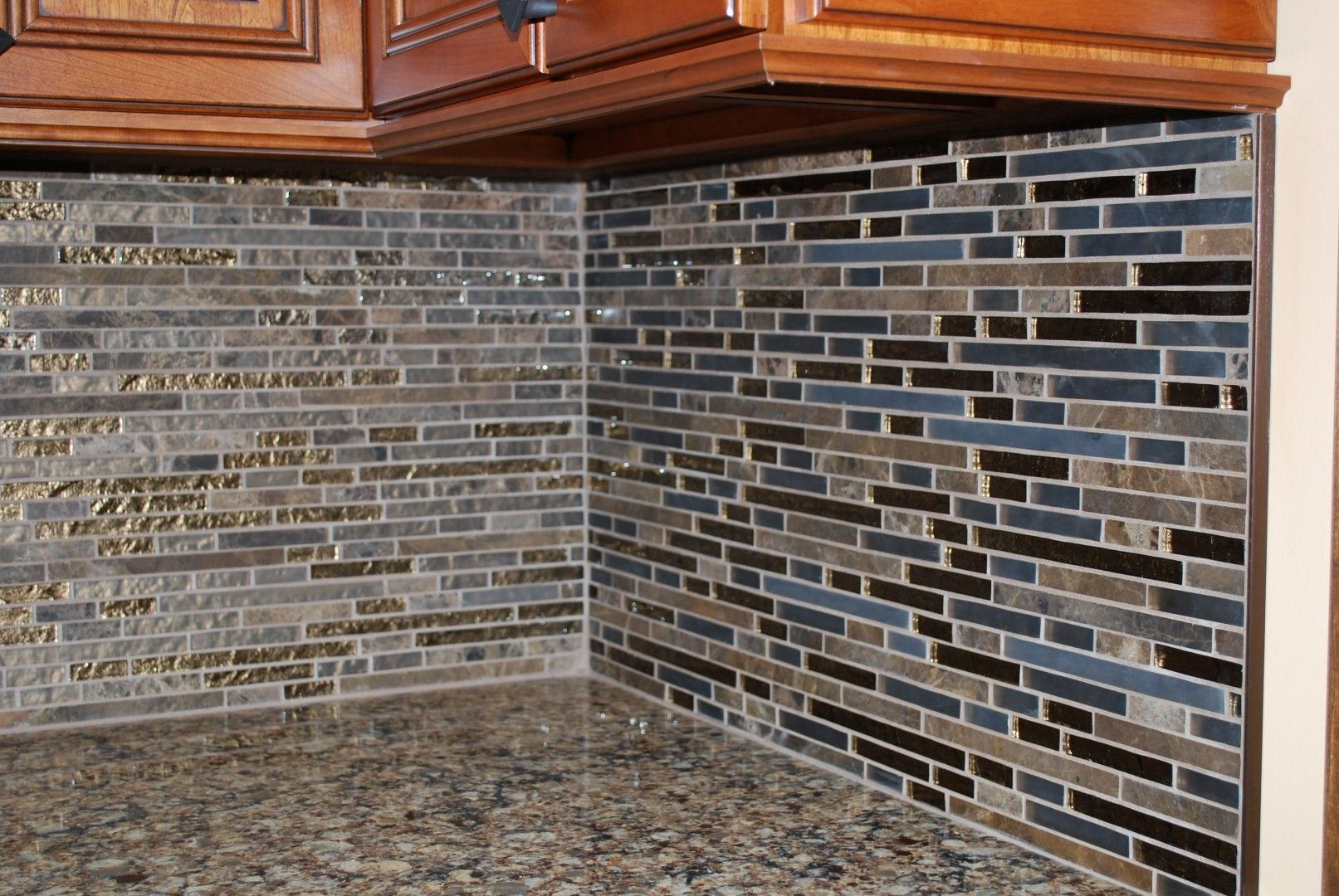 Once Tile Backsplash With Granite Marme Random Strip Mosaic Emperador Dark Gf31