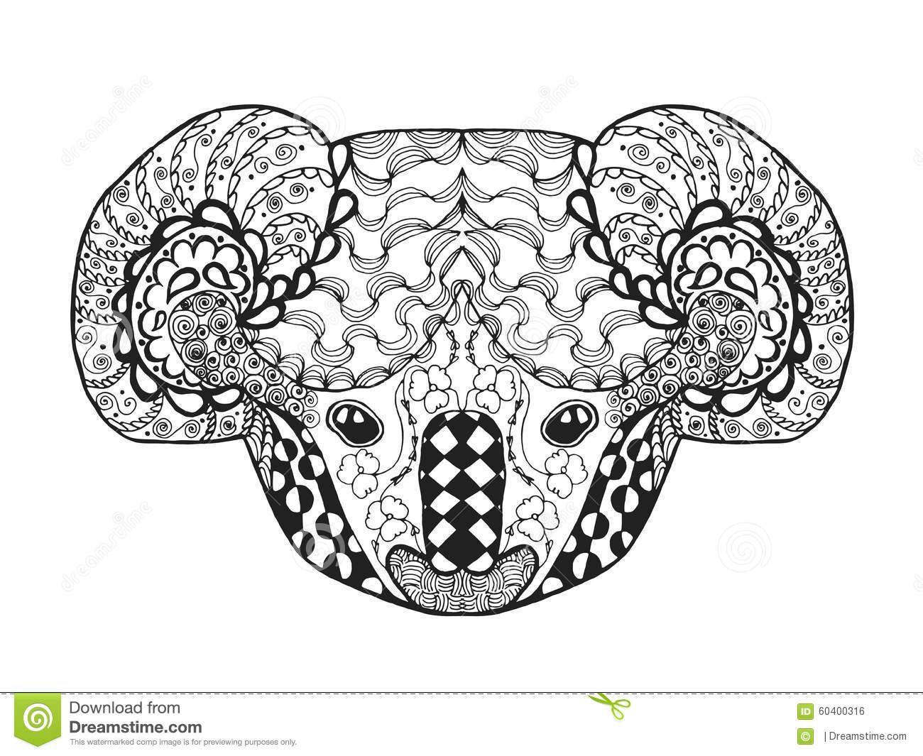 zentangle-stylized-koala-head-sketch-tattoo-t-shirt-adult-antistress ...