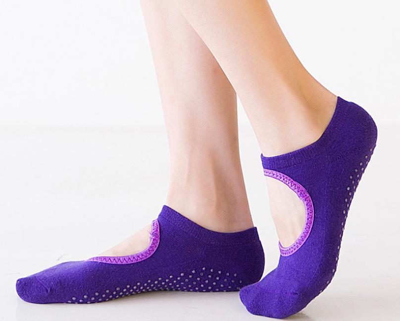 Non Slip Yoga Socks Grips For Women Barre Ballets Dance Home Gym Cotton Pilates