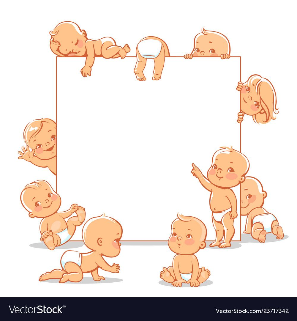 Cute Little Babies Near Blank Text Frame Vector Image On