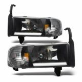 Winjet 94 01 Dodge Ram 1500 2500 3500 Headlight With Light Bar Black Dodge Ram Dodge Ram 1500 Replacement Headlights