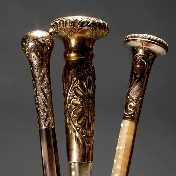 Gold and Mother of Pearl Mounted Parasol Handles