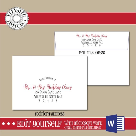 Editable Christmas Envelope Template