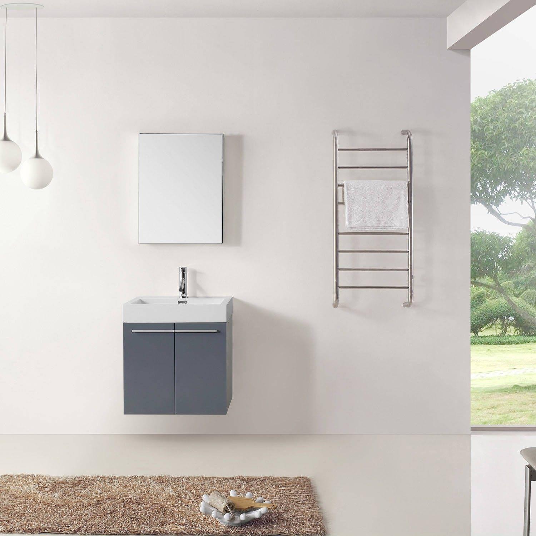 Virtu USA Midori 24-inch Polymarble Single Bathroom Vanity Set with ...