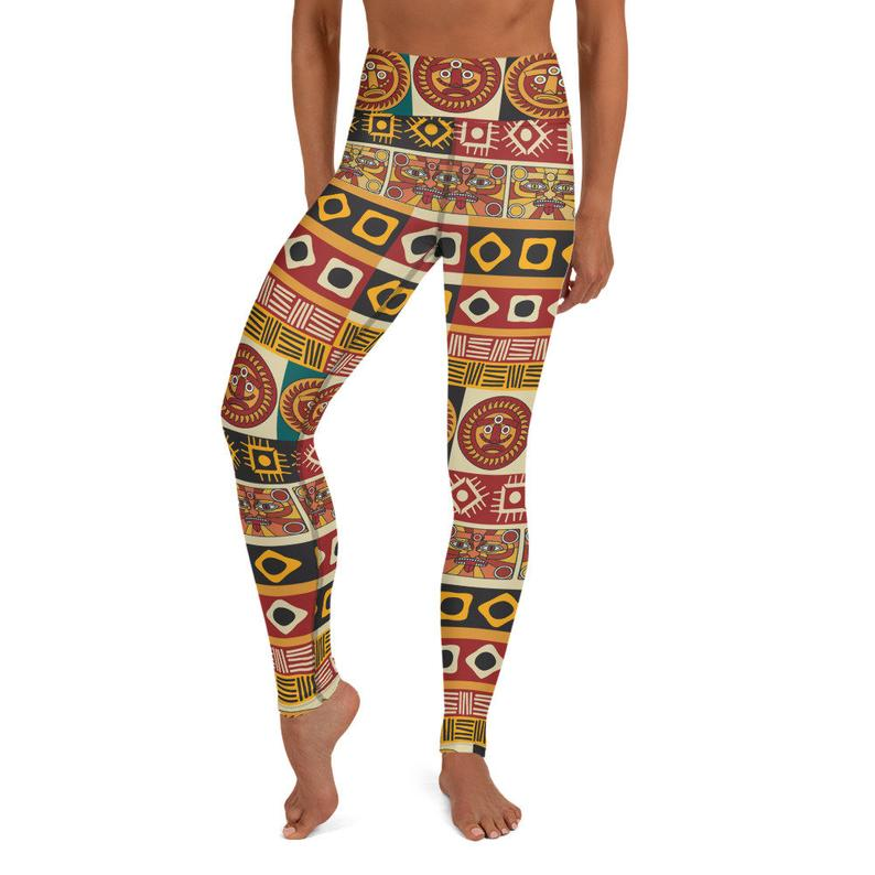 African Clothing Womens Leggings Geometric Colorful Yoga Pants