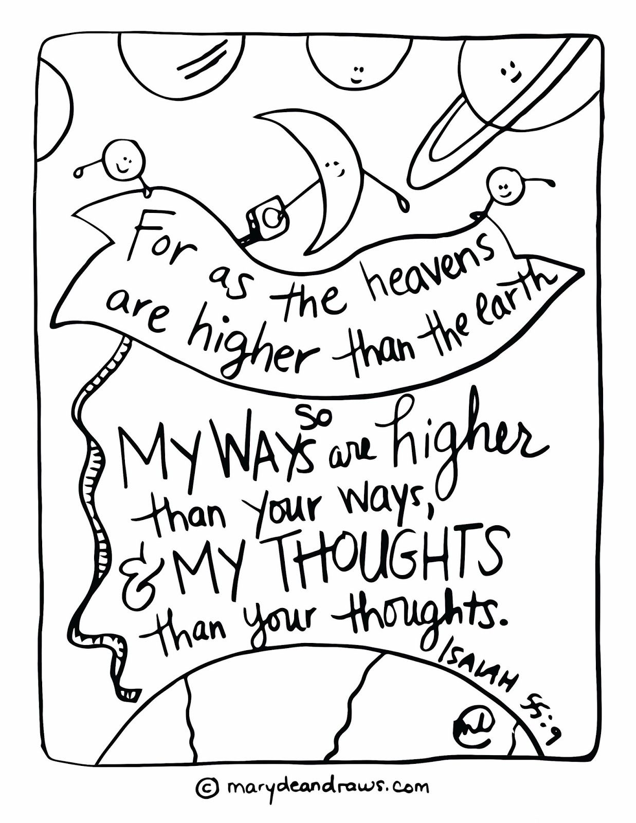 Isaiah 55 9 Printable Scripture Coloring Page Marydean