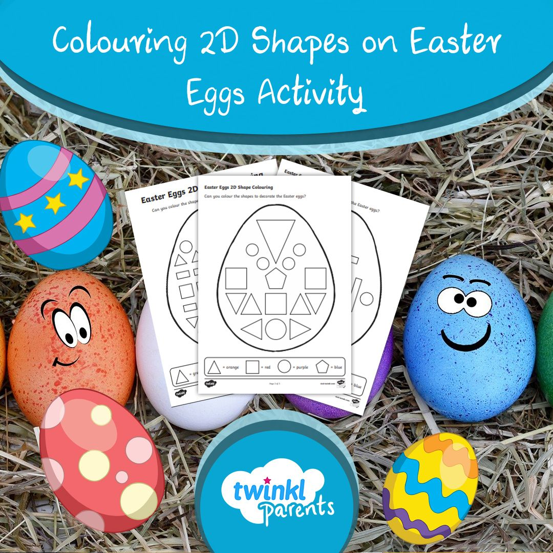 Colouring 2d Shapes On Easter Eggs Worksheets In