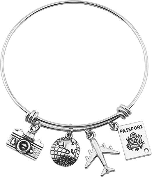 SEIRAA Bracelet de voyage Bracelet en fil extensible Bracelet Charm Bracelets cadeau pour voyageur