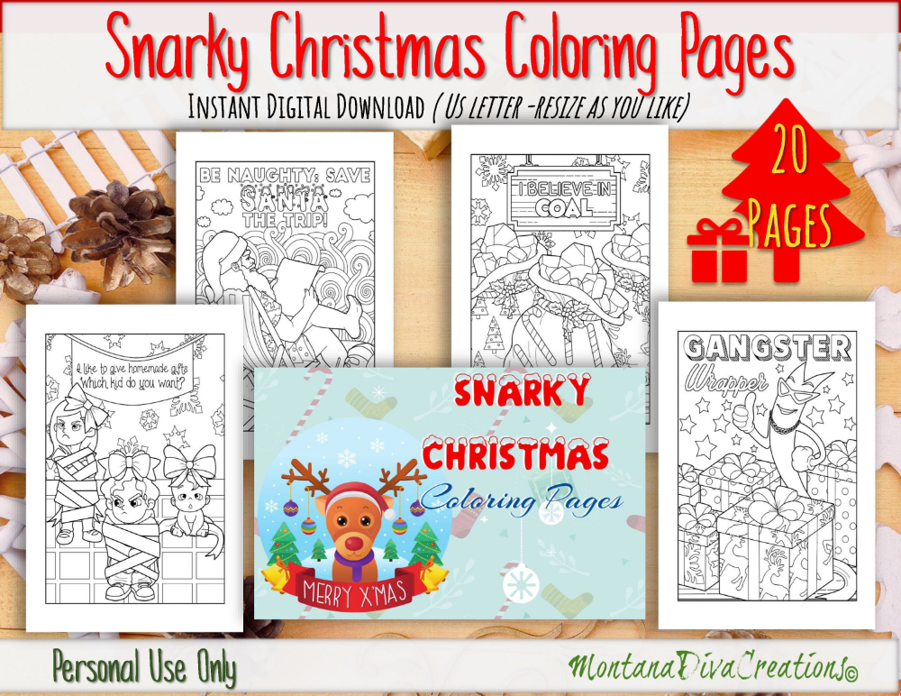 Snarky Christmas Coloring Pages Instant Pdf Download Etsy Christmas Coloring Pages Coloring Pages Coloring Books