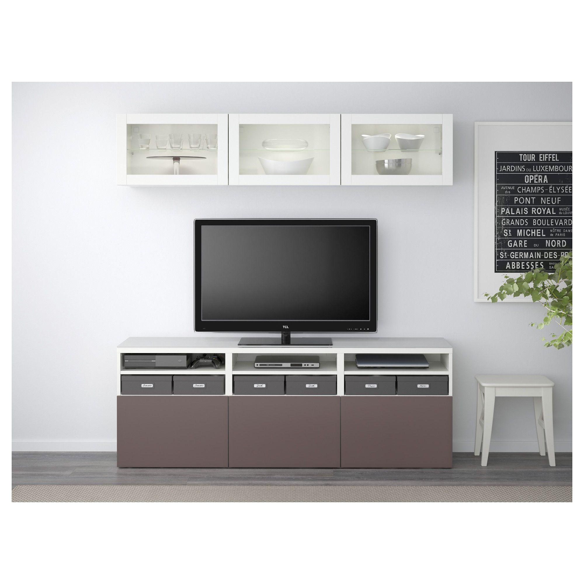 Ikea Bestå Tv Storage Combination Glass Doors White Valviken Dark