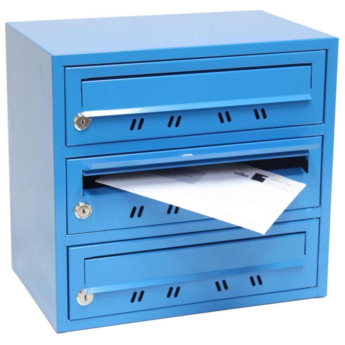 Lockable 3 Slot Pigeon Hole Letterbox Mail Multi Post Box
