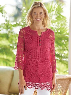"""Crochet Henley - <p> The intricate crochet work and loop-and-button placket make it simply stunning. Pullover with three-quarter length sleeves. Approx. 28""""L; P"""