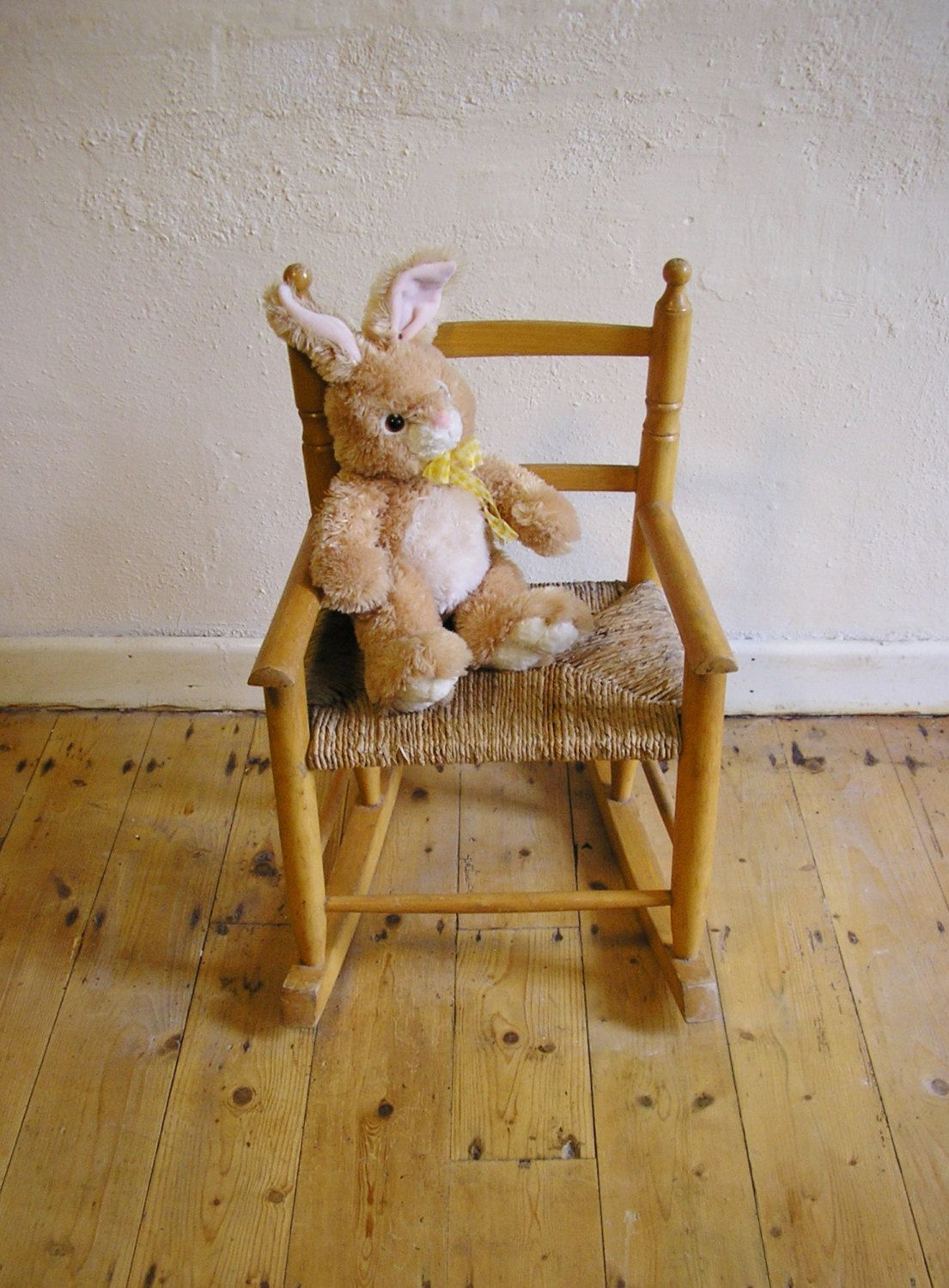 Vintage Childrenu0027s Rocking Chair Wicker Woven Seat Wood Wooden Chair  Nursery Playroom Kidu0027s Furniture Rustic Country