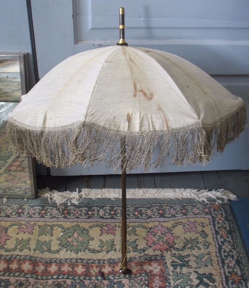 "Vintage Umbrella PARASOL 29 1/2"" grey cover blue silk inside brass trim w fringe"