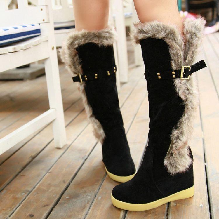 Barato Hot moda de nova mulher botas de pele de neve botas até o joelho  botas 491a1379697c6