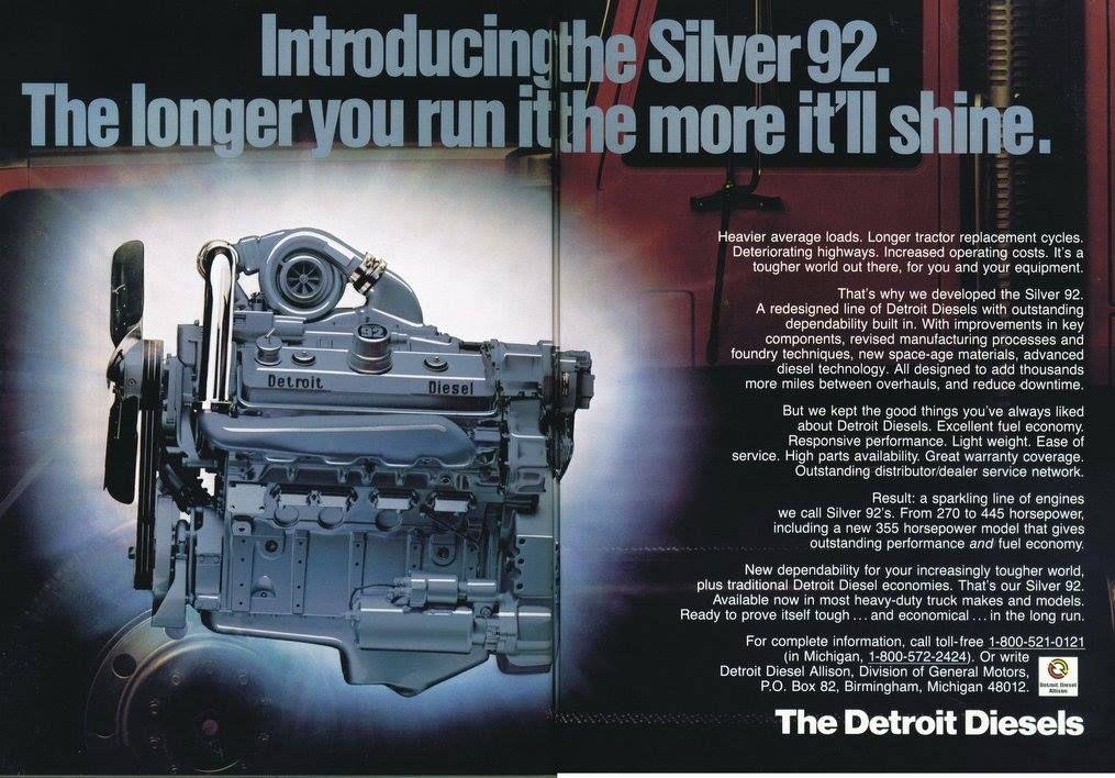 Detroit diesel 8v92 trucks and trucktractors class 8