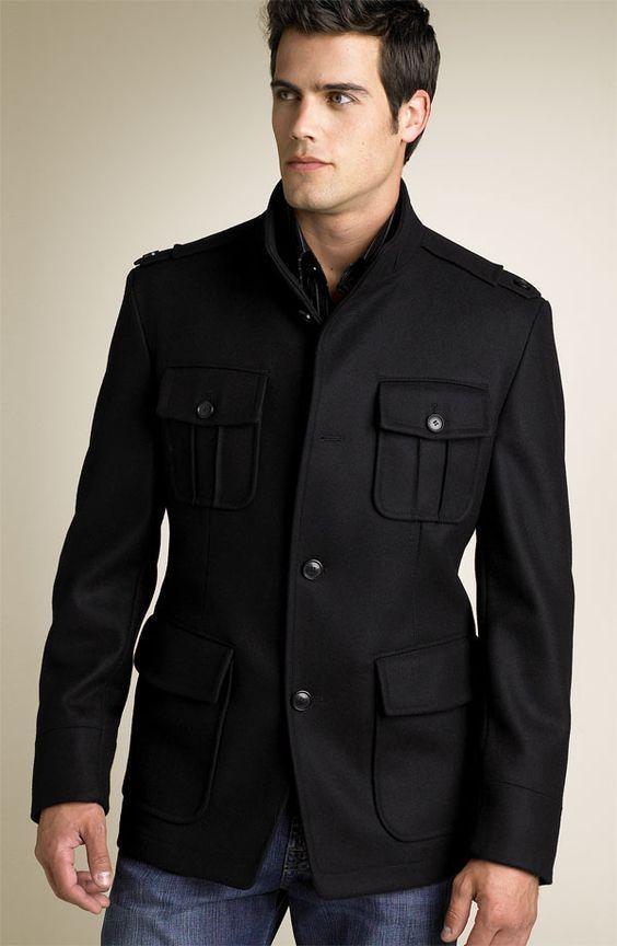 HUGO BOSS Colbert Military Wool Blend Black Slim Coat Jacket Men Medium 38 R