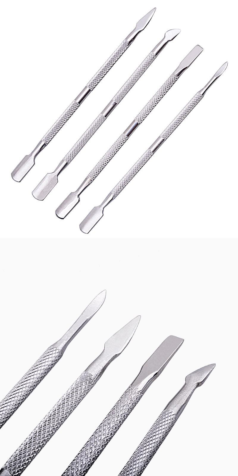 Visit to Buy] 4Pcs Stainless Steel Nail Art Cuticle Spoon Pusher