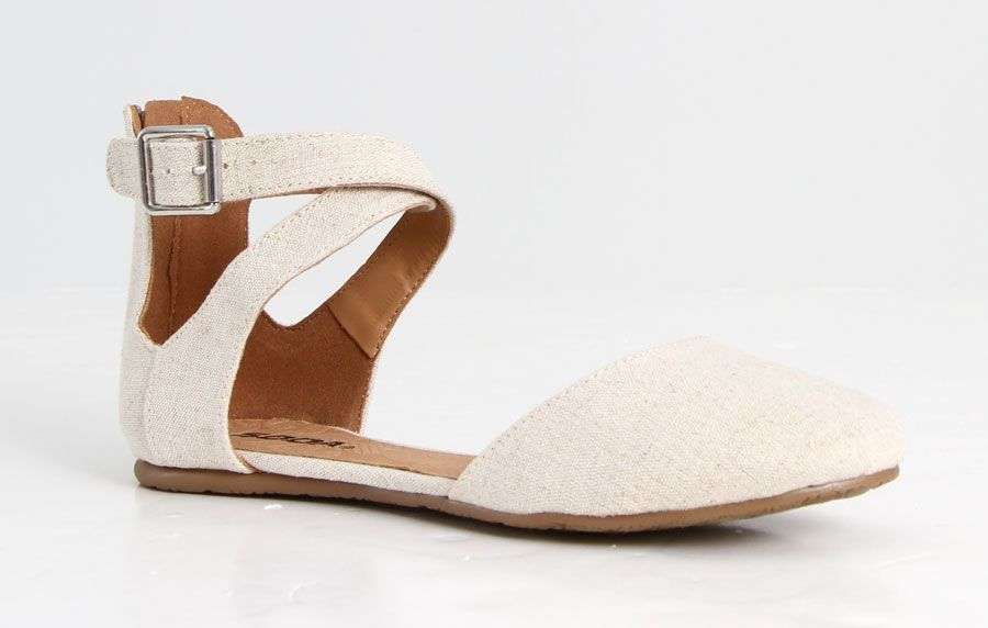 Soda Shoes Kiner Flat with Open Side Ankle Strap in Beige