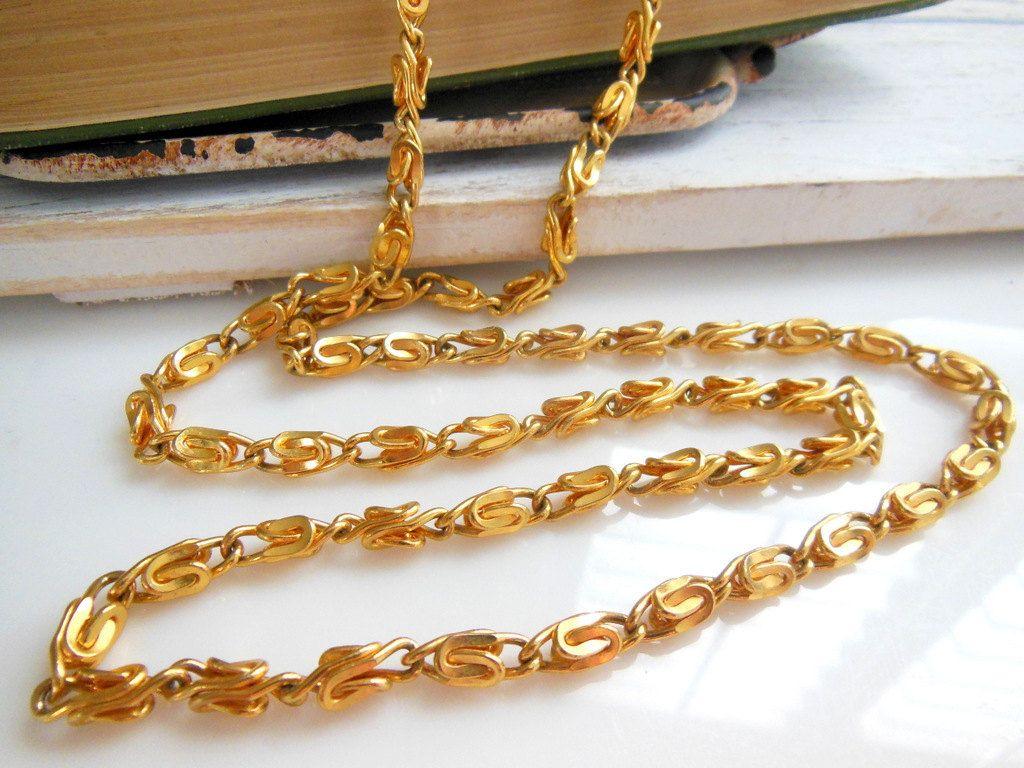 "Retro Yellow Gold Tone 30"" Long Scroll Chain Opera Length Women's Necklace DD23"