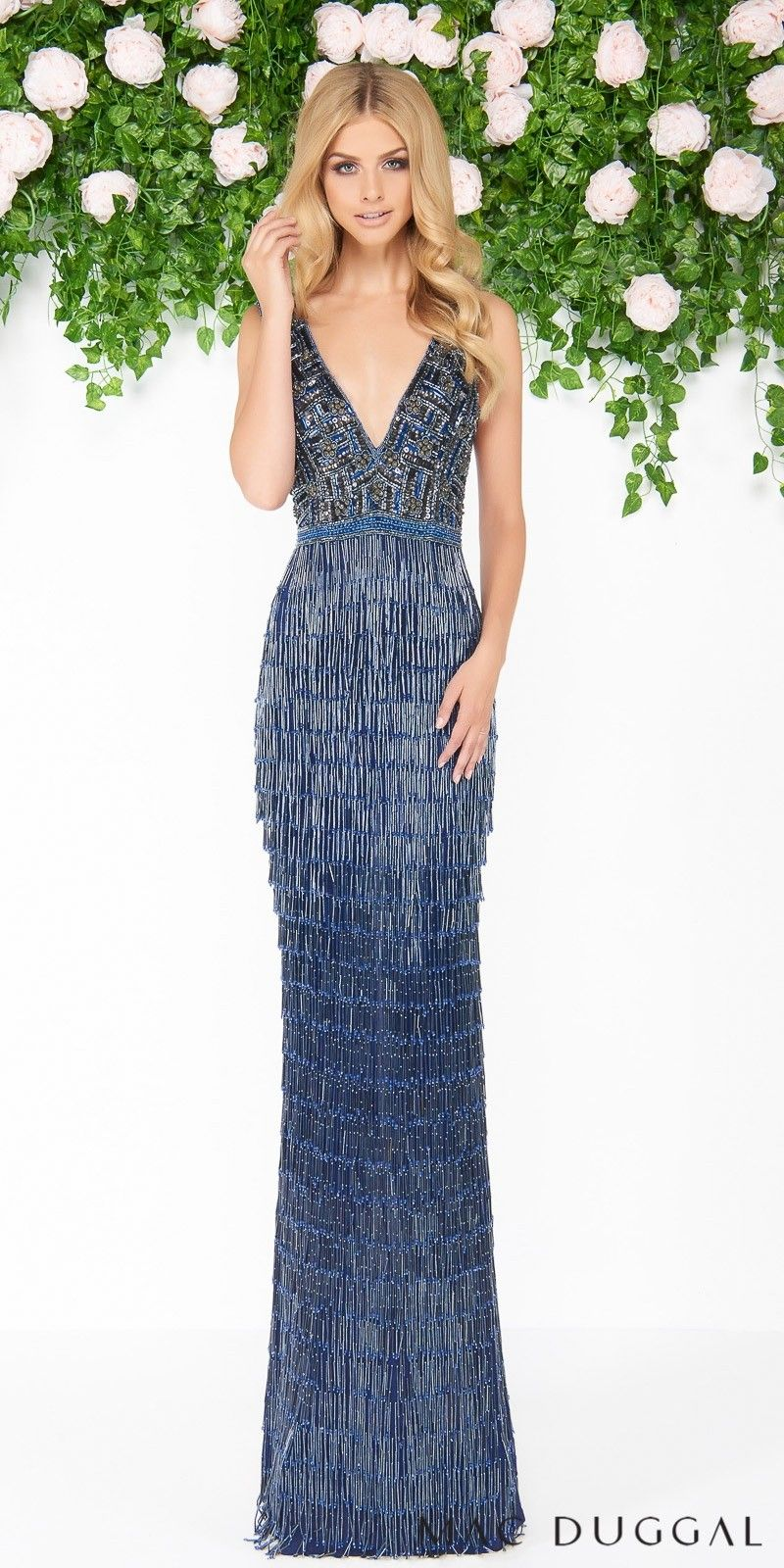 1ba526a227 Plunging Fringe Beaded Open Back Evening Dress by Mac Duggal ...