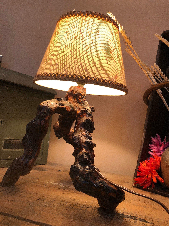 Lampe Ancienne Vintage 70 S Lampe En Cep De Vigne Abat Jour En Tissu Luminaire Rustique Lampe De Bureau Vintage Novelty Lamp Table Lamp Lamp