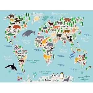 Animal map of the world httpstransformawall animals world map canvas prints for children by worldmapcanvas gumiabroncs Images