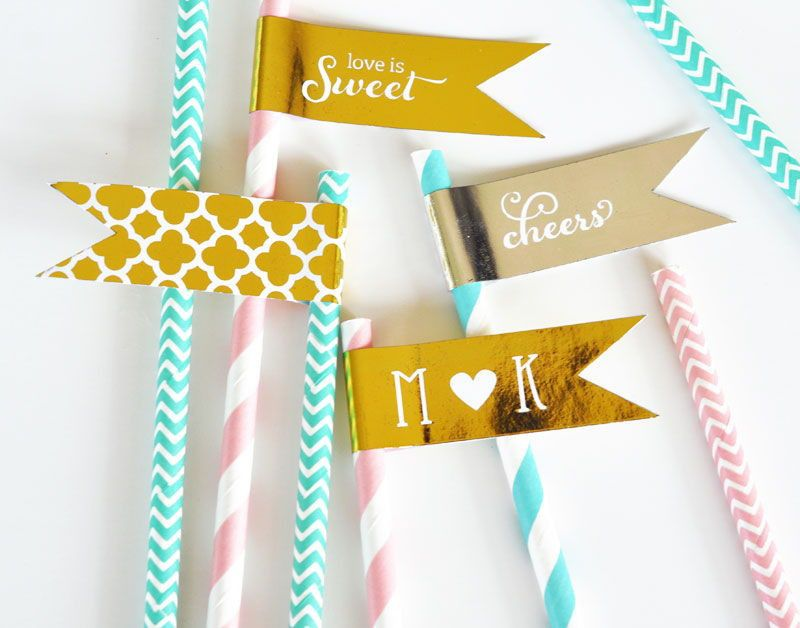 Metallic Foil Flag Labels - Wedding. Serve hor d'oeuvres adorned with toothpicks or sip drinks from straws featuring one of these Metallic Gold & Silver Foil Wedding Personalized Flag Labels. No matter what the occasion or celebration, these are a fun and unique way to style up any event! You can attach these shiny metallic foil personalized flag labels to some of our striped paper straws for added flair (sold separately). Due to the personalization for this product the minimum...