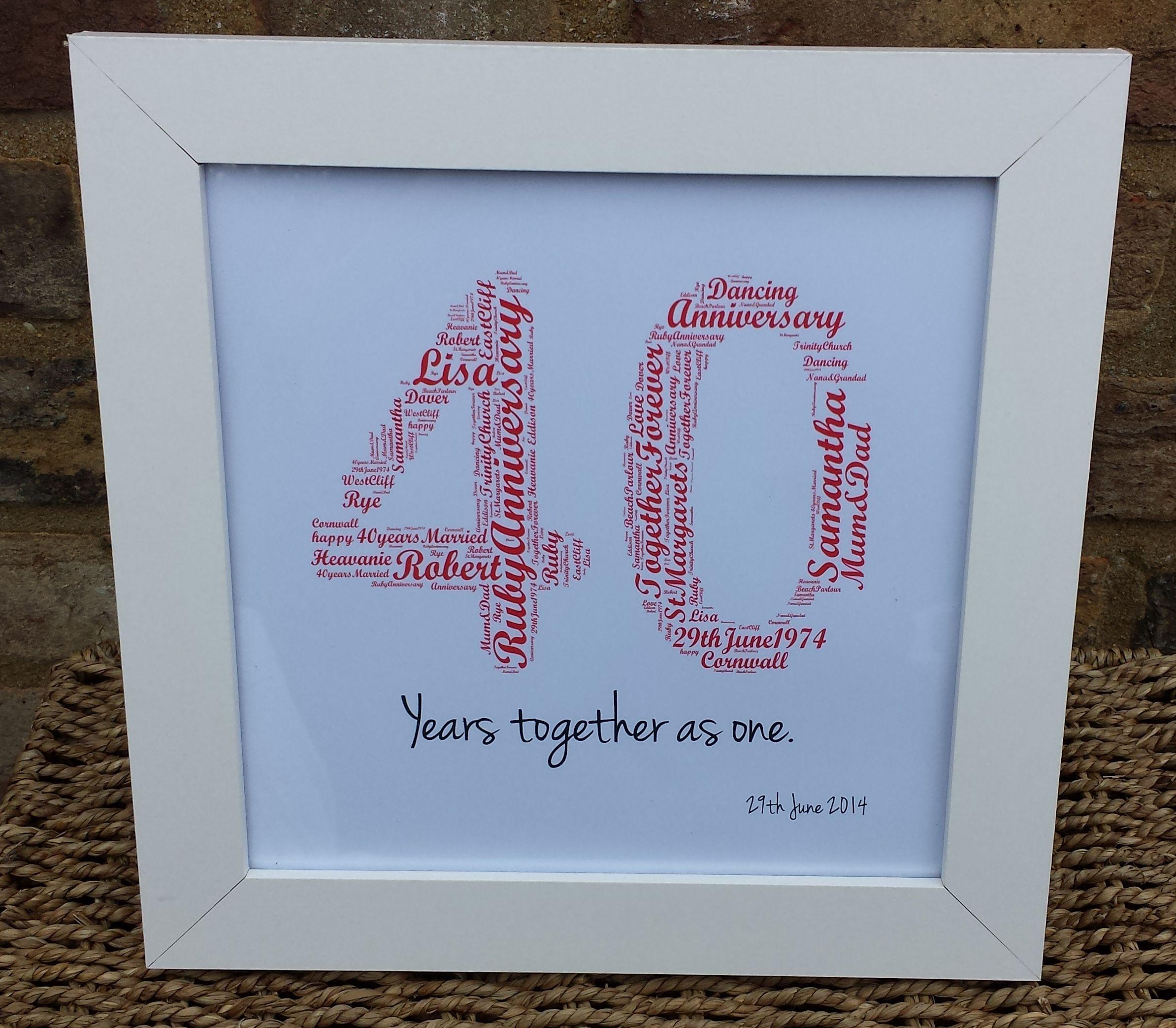 '40 Years Together as one' Word Art Ruby Wedding Разное