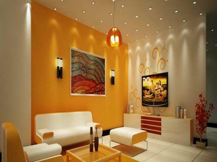 Wohnzimmer Orange ~ Farbideen wohnzimmer vorteile der blauen und grünen farbtöne