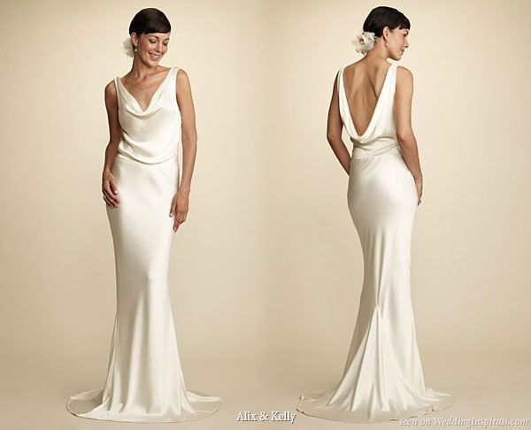 Alix And Kelly Cowl Neck Low Back Y Silk 100 Hand Washed Wedding Dress