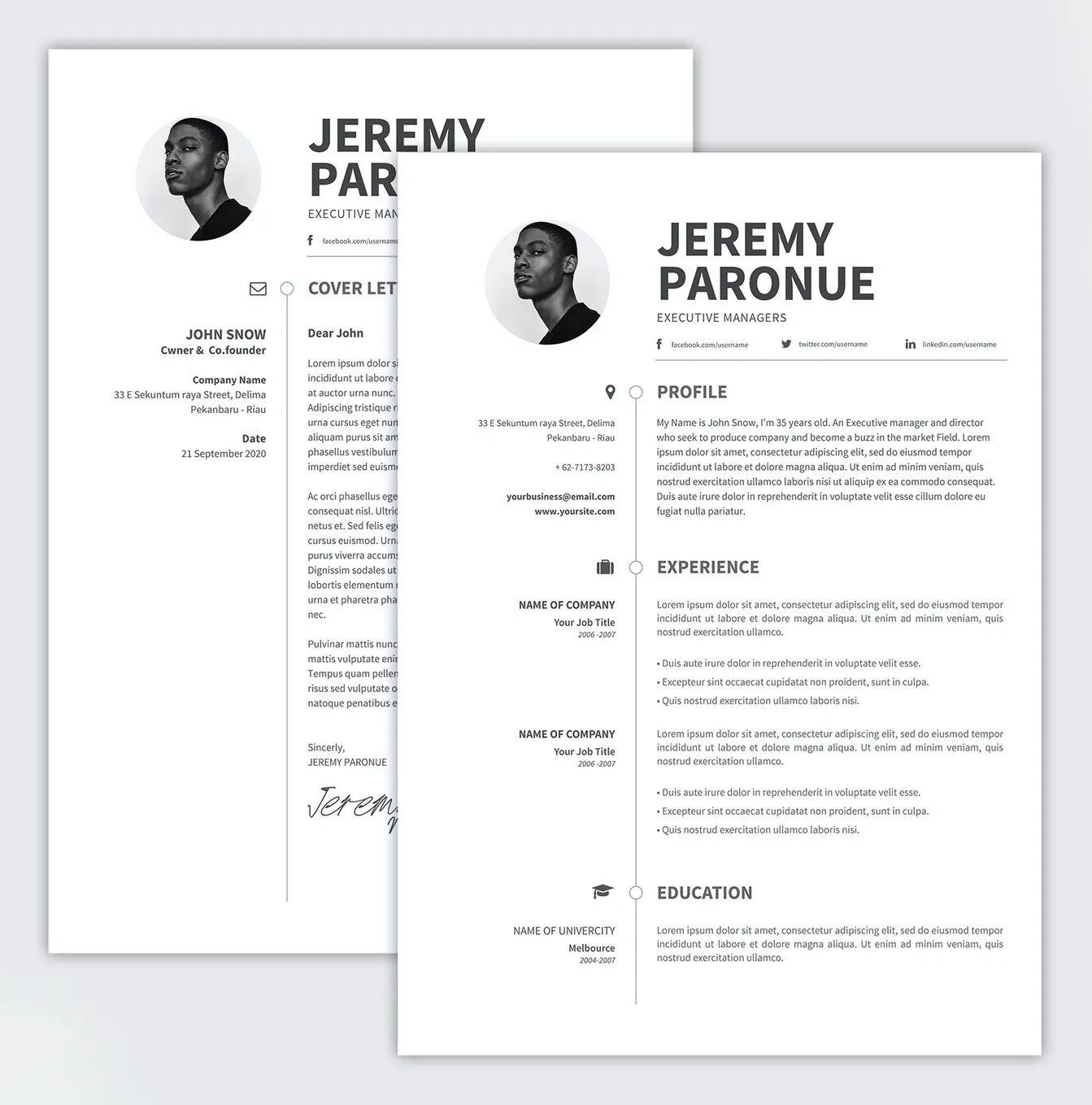 Clean Resume PSD Template in 2020 Clean resume, Resume