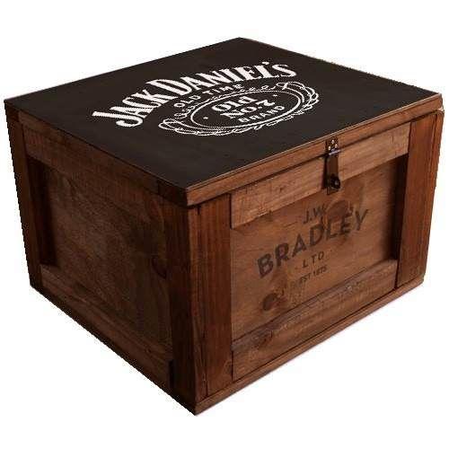 Ba l madera vintage chico herraje p candado con logos for Cajas de madera ikea