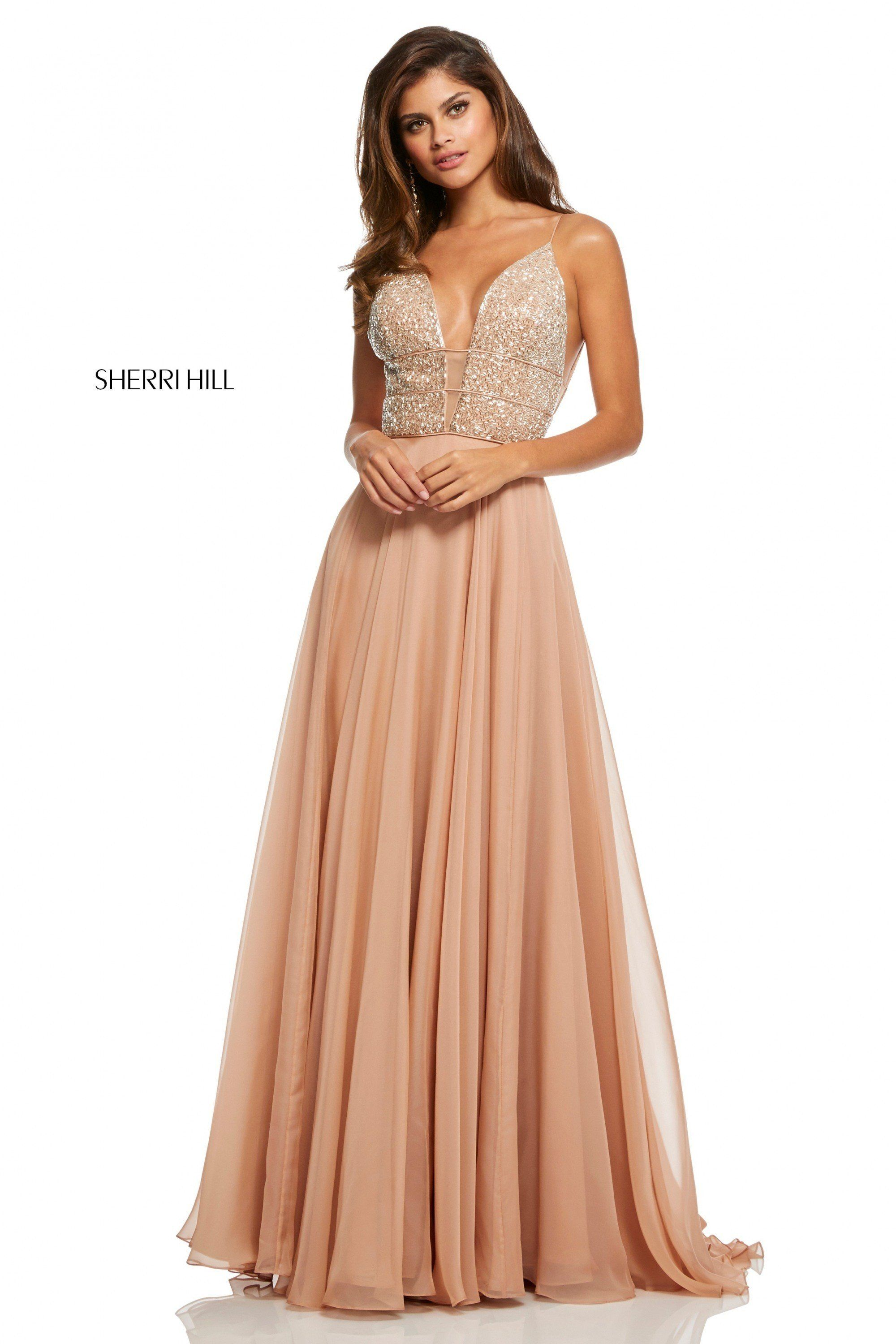 826ca761ee3 Sherri Hill 52589 Beaded Plunge Chiffon Gown in 2019