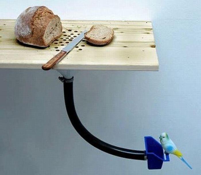 think of little birds when you cut bread