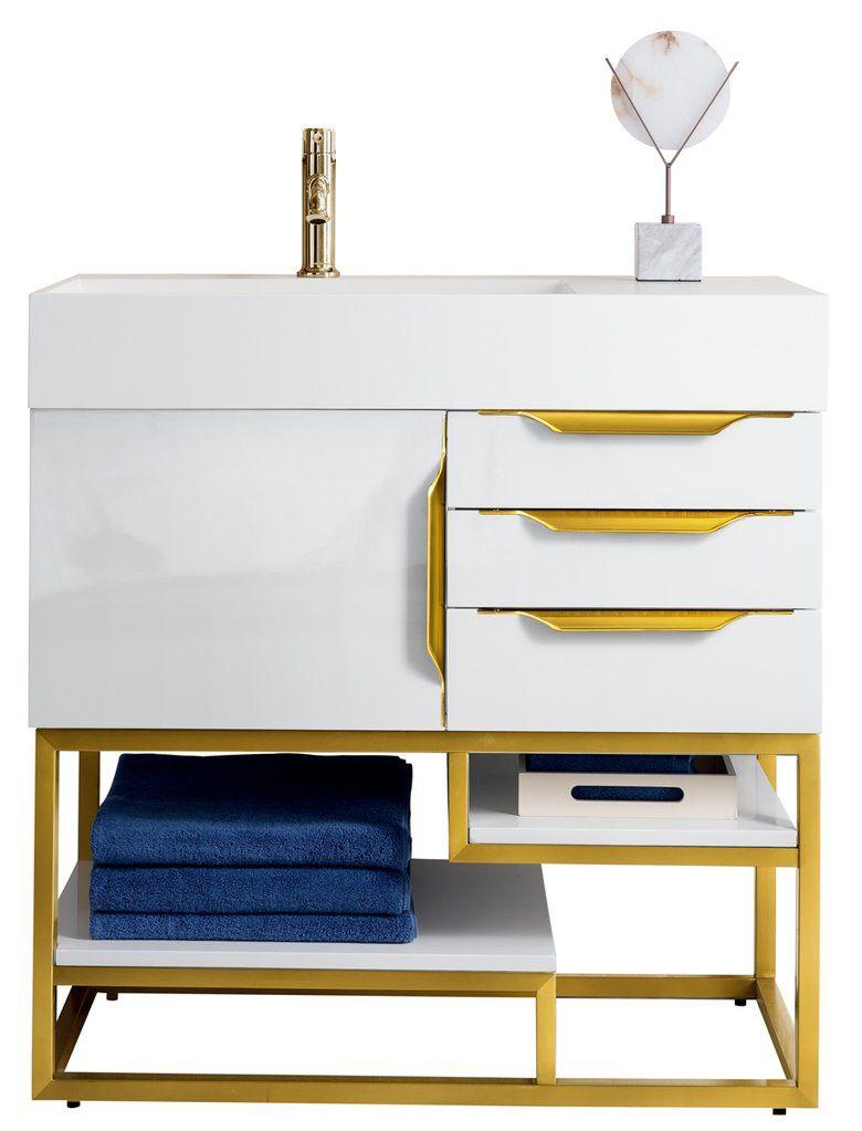 36 Quot Columbia Single Bathroom Vanity Glossy White Radiant