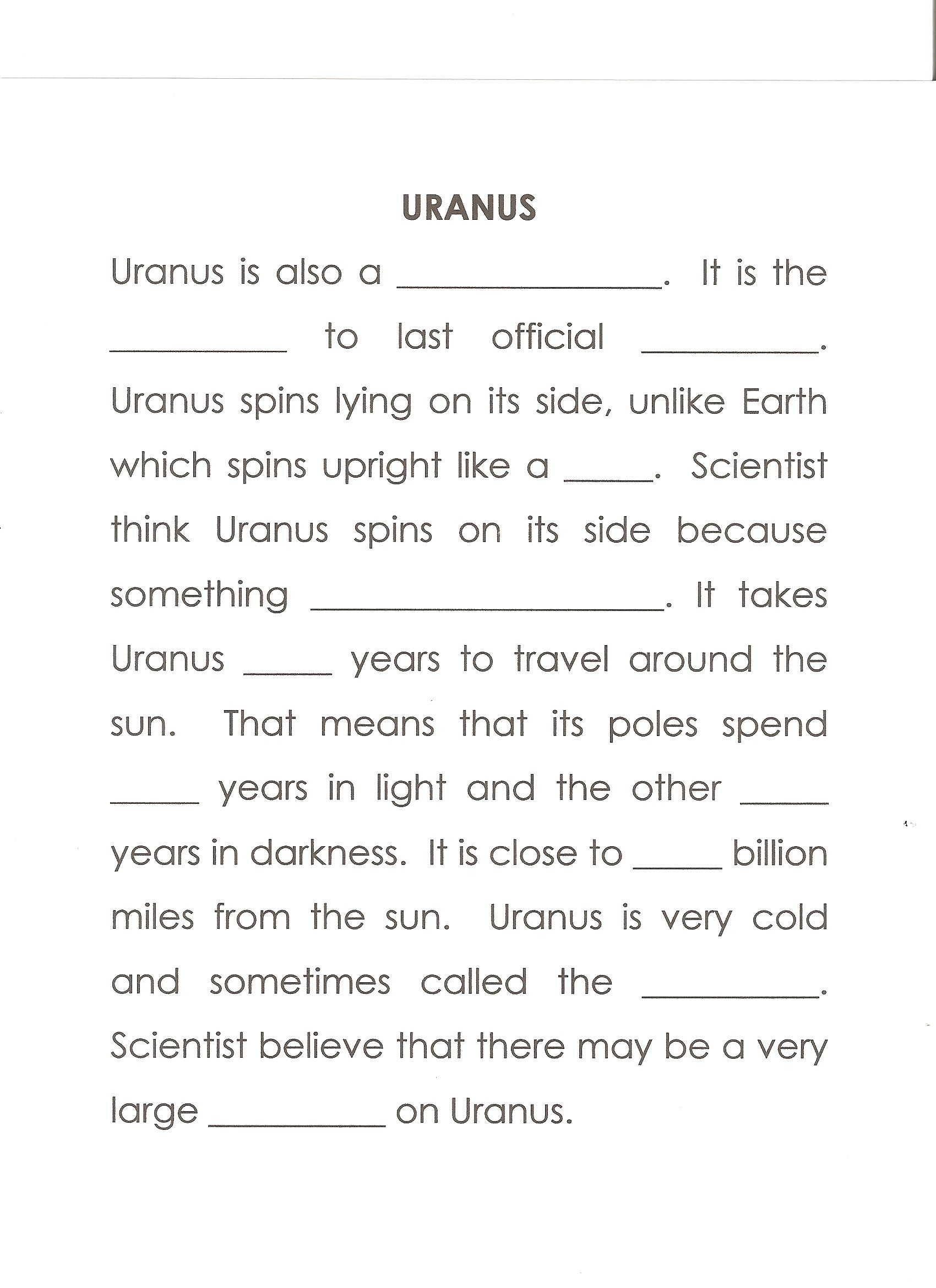 Urworksheet Answers Gas Giant Second Planet Top Crashed Into It 84 42 42 2 Ice