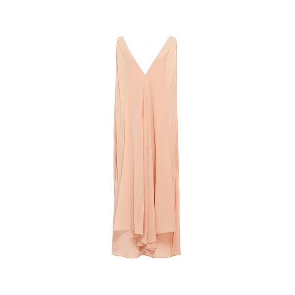 Edun  Silk CDC Hankercheif Dress ($890) ❤ liked on Polyvore featuring dresses, handkerchief hem dress, silk dress, red dress, layered dress and handkerchief dresses