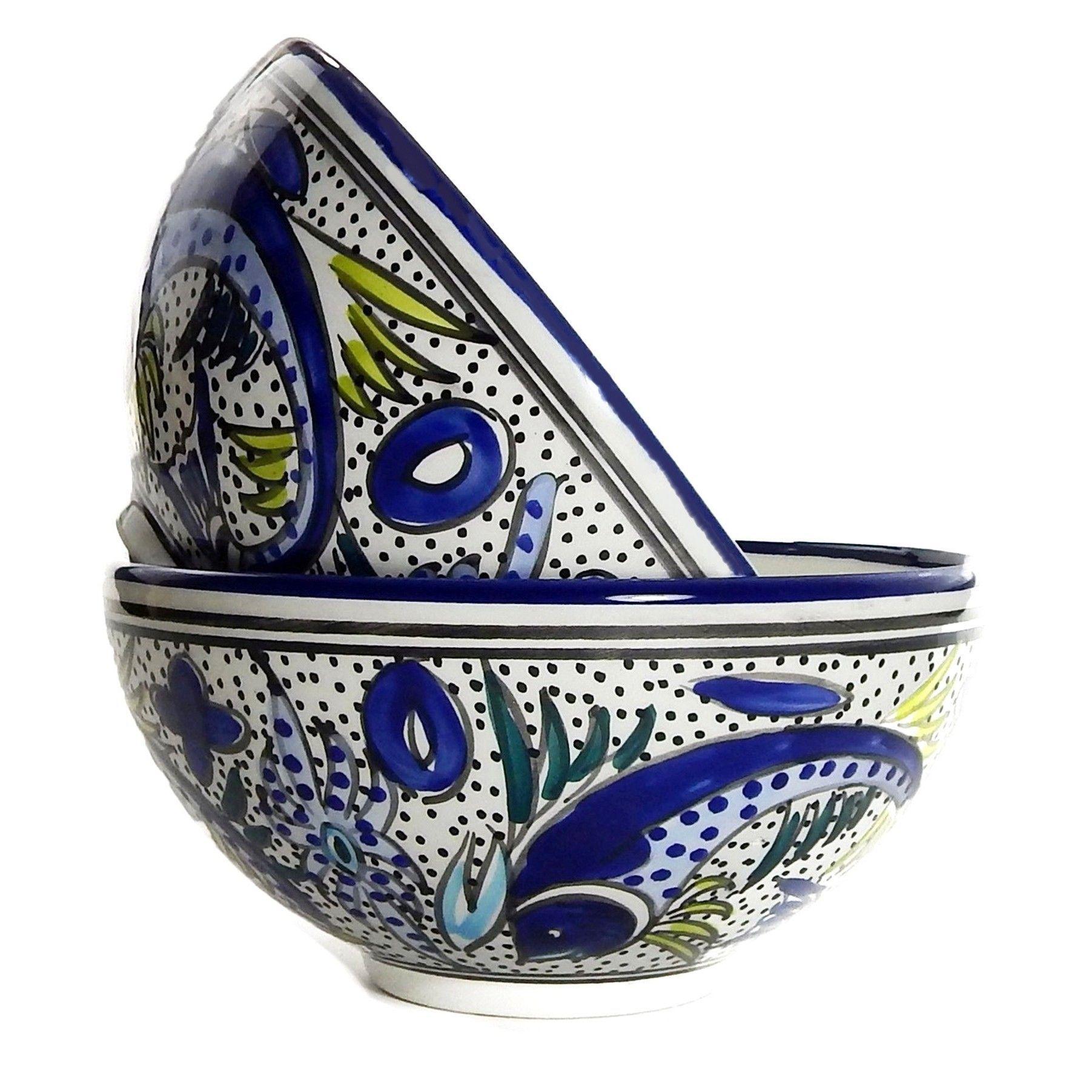Set of 2 Le Souk Ceramique Aqua Fish Design Medium Deep Serve Bowls