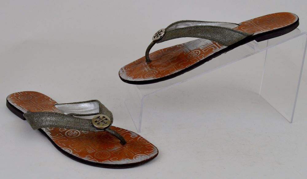 a8f15751bce5 Tory Burch Thora Women s Shoes Size 8 M Silver Metallic Leather Flip Flop  Sandal  ToryBurch  FlipFlops  Casual