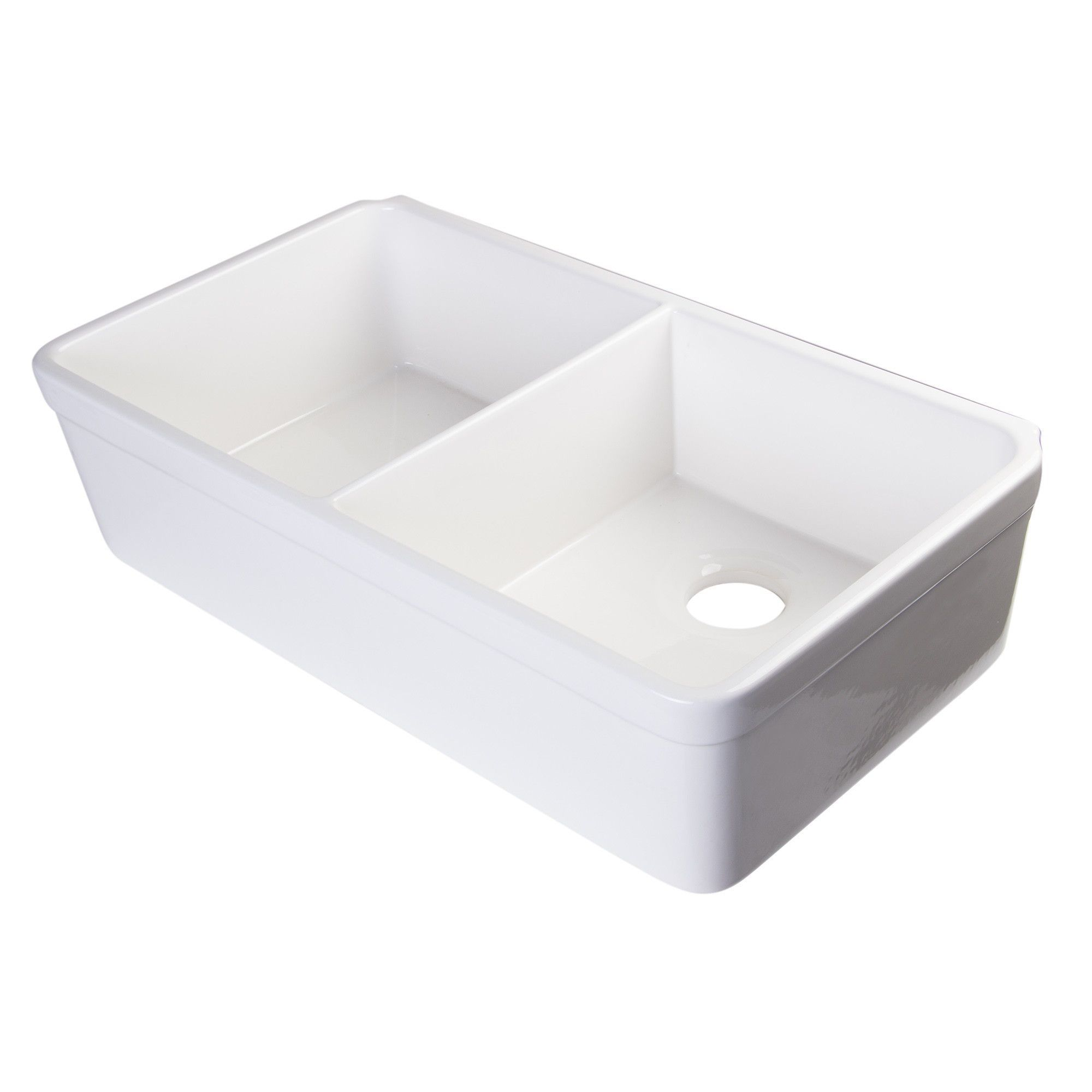 Alfi Brand Ab512 W White 32 Double Bowl Fireclay Farmhouse Kitchen Sink With 1 3 4 Li Farmhouse Apron Kitchen Sinks Apron Sink Kitchen Farmhouse Sink Kitchen