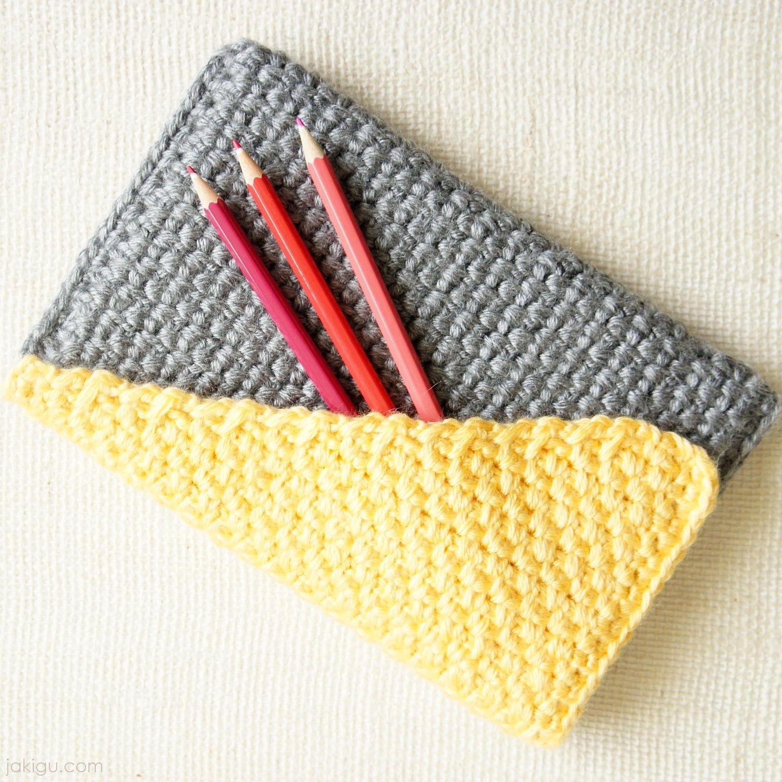 Crochet Clutch With Color Block Flap Crochet Pattern Crochet Pencil Case Crochet Clutch Crochet Patterns