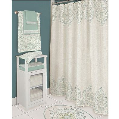 LenoxR French Perle Groove Shower Curtain In Ice Blue Bed Bath Beyond
