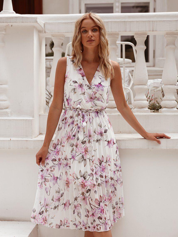 Biala Midi Sukienka W Kwiaty