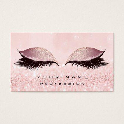 Makeup Gold Blush Pink Glitter Eye Lash Extension Business Card Beauty Gifts Stylish Beautiful Cool