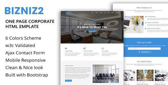 Bizniz2 - One Page Mutlipurpose Html5 Template | Template, Web ...