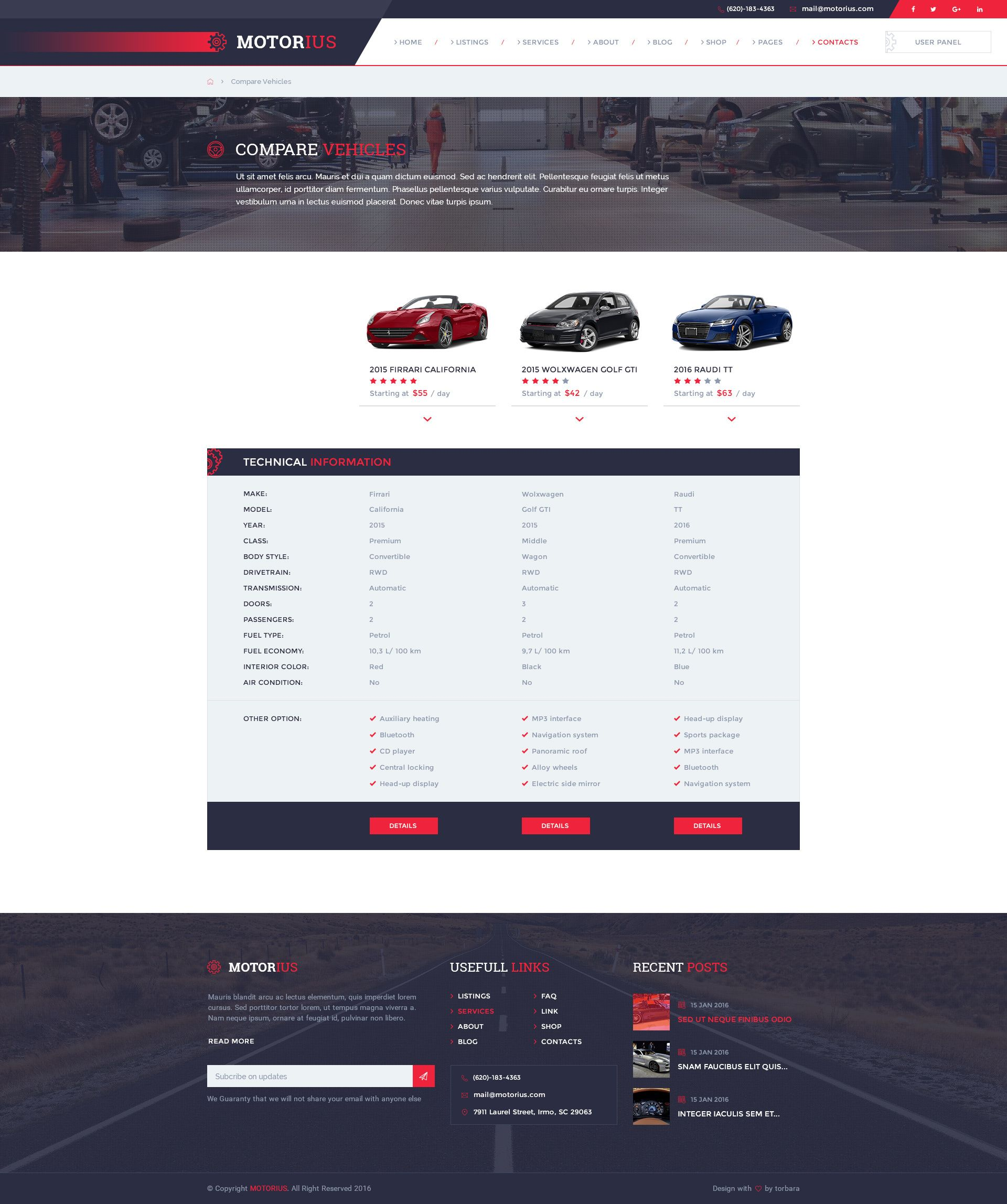 Motorius  U2014 Exclusive Sell  Rent Cars Psd Template  With