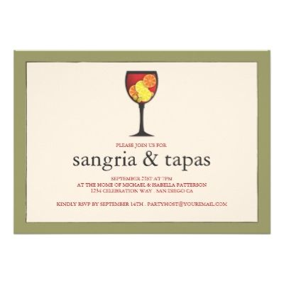 Goblet With Fruit Sangria Tapas Party Invitation Invites Cards