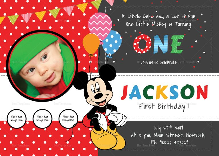 Mickey Mouse 1st Birthday Invitations Macho S 1st Birthday